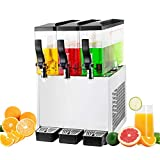 TECSPACE 110V 30L Commercial Beverage Dispenser Cold and Hot,3 Tanks 9.5 Gallon 270W, Stainless Steel Fruit Juice Beverage Machine Equipped with Thermostat Controller