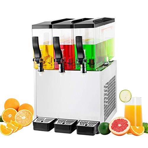 TECSPACE Commercial Cold Beverage Dispenser 3 Tanks 9.5 Gallon Stainless Steel Fruit Juice Beverage Dispensers 270W Ice Tea Drink Dispenser Equipped with Thermostat Controller