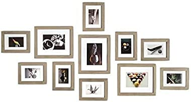Muzilife 11 pcs Collage Picture Frame-3pcs 8x10+ 8pcs 5x7 Display Photograph and Wall Décor Photo Frames for Dining Room Bedroom and Living Room (Gray)