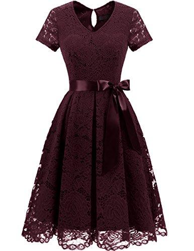 DRESSTELLS Damen Elegant Abendkleider für Hochzeit Herzform Spitzenkleid Cocktail Party Floral Kleid Burgundy XL