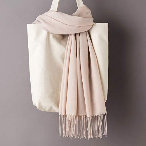 Bufanda de cachemira de color sólido para mujer con borlas, otoño nuevo suave y cálido, bufanda larga y delgada envuelta para damas y niñas, chal femenino, bufanda para hombre - Bufanda de albaricoque