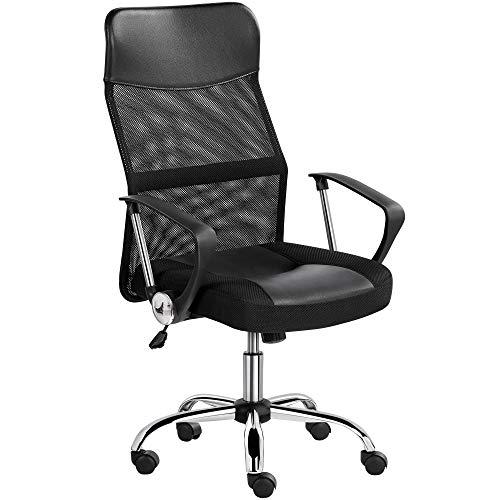 Yaheetech Bürostuhl mit hoher Rückenlehne, Schreibtischstuhl mit Wippfunktion, Chefsessel mit Kopfstütze und Armlehne, Office Chair, Gaming Stuhl Schwarz