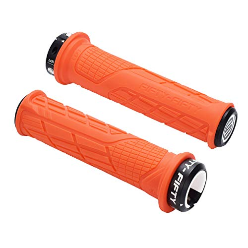 FIFTY-FIFTY Single Lock-on Mountain Bike Grips, Bicycle Handlebar Locking Grips, Non-Slip MTB Handle Grips (Orange)