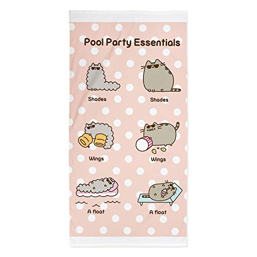 Pusheen Pink Polka Dot Towel Party Essentials Design | Perfect for The Home, Beach & Swimming Pool, Multicolour, 140 x 70cm
