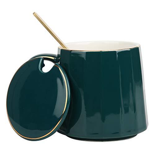 Nunafey Linda Taza de café de cerámica, Taza de té con Leche con Tapa y Cuchara, Elegantes Tazas de té con asa para la Oficina en casa, un Gran Regalo para Amigos y Familiares (Verde, 350 ml)