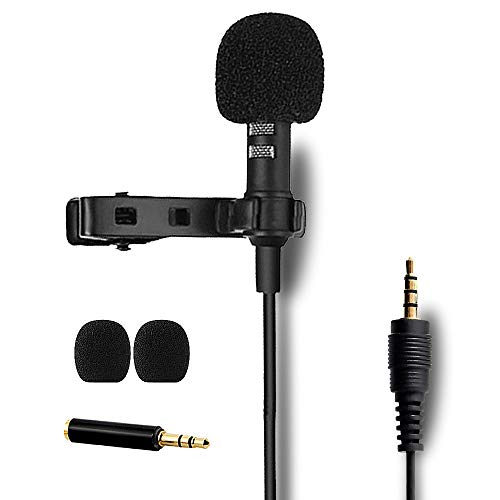 ESTIQ Professional Lavalier Lapel Microphone Omnidirectional Condenser Mic - 3.5mm Jack Mic - Perfect for Recording YouTube, Interview, Video, (Suitable for iPhone/Android/PC/Camera)