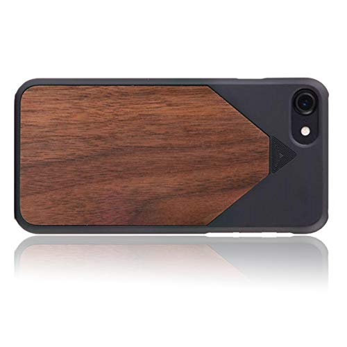 WOLA Carcasa Madera para iPhone SE 2020/8 / 7 WOOD7 Funda de Madera Nogal