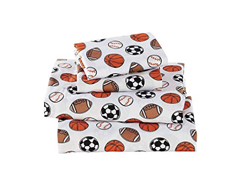 Elegant Homes Multicolors Sports Basketball Soccer Football Baseball Fun 4 Piece Printed Queen Size Sheet Set with Pillowcases Flat Fitted Sheet for Boys/Kids # Sports Navy (Queen Size)