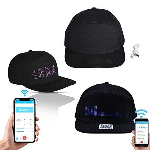 Keptfit Smart Multi-Language LED Color Cap, APP Control LED Display Cap Wireless Bluetooth Einstellbare Baseball Cap für Konzert Party Club Heiligabend (Text, Musik, Bilder, Malerei)