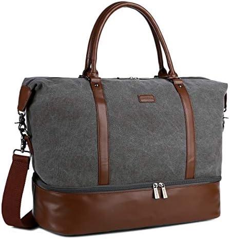 BAOSHA HB 28 Ladies Women Canvas Travel Weekender Bag Overnight Carry on Duffel Tote Bag Grey product image