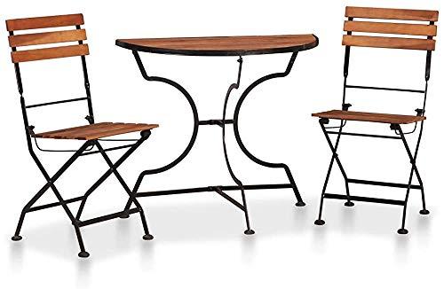 3 Wood Bistro mesa y sillas plegables de baño, jardín al aire libre,A