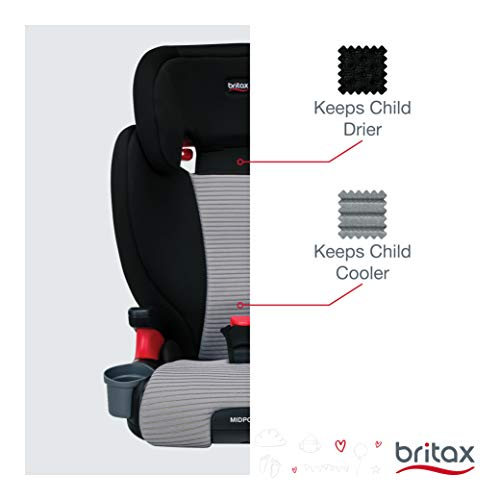 Britax Midpoint Belt-Positioning Booster Seat - 2 Layer Impact Protection - 40 to 120 pounds - DualComfort Moisture Wicking Fabric, Gray