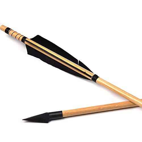XFC-Arrow, 6 12 Pezzi frecce in Legno Tradizionale Lunghezza 85cm Turchia Piume for 20~60kg Longbow Arco Compound Tiro con L Arco Caccia (Colore : 12 PCS)