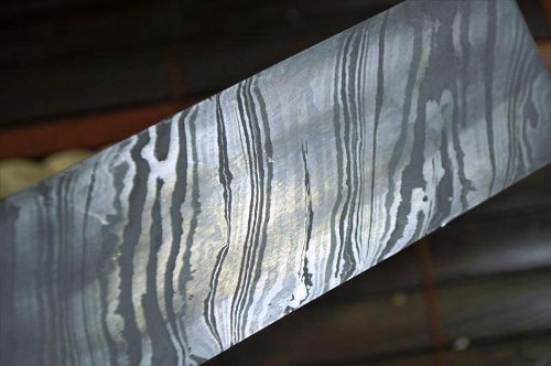 Damaszener Stahl zur Messerherstellung, über 200 Schichten, 254*38*4,0mm