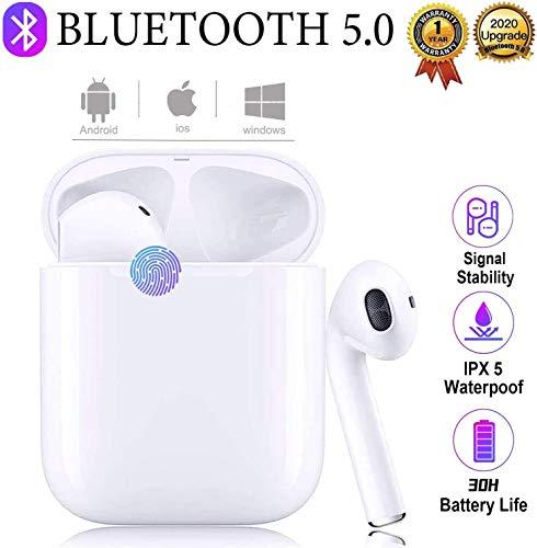 Cuffie Bluetooth 5.0, cuffie wireless, IPX5 impermeabili, cuffie sportive wireless reali, riduzione del rumore stereo 3D HD, adatte per cuffie/Android/Samsung/Huawei