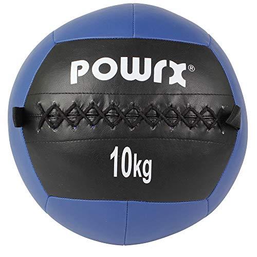 POWRX Wall Ball Balón Medicinal 10 kg - Ideal para Ejercicios de »Functional Fitness«, fortalecimiento y tonificación Muscular - Agarre Antideslizante + PDF Workout (BLU)