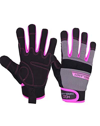 HANDLANDY Utility Work Gloves Women, Flexible Breathable Yard Work Gloves, Thin Mechanic Working Gloves Touch Screen (Medium)