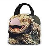 Bolsa de almuerzo con estampado artístico de lagartos de dragón barbudo, bolsa de almuerzo para mujer, lonchera aislada
