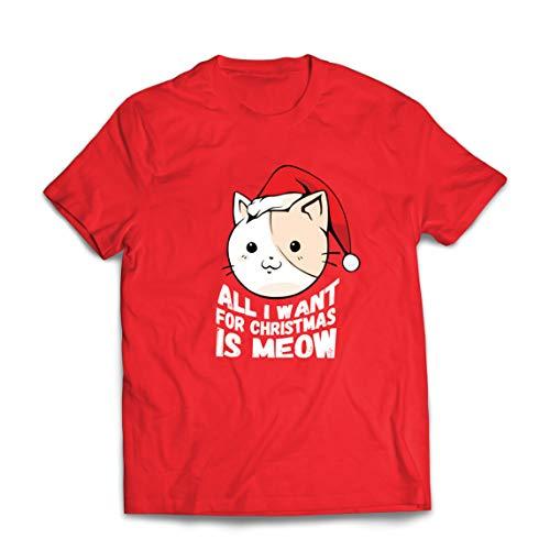lepni.me Camisetas Hombre Todo lo Que Quiero para Navidad es la Idea del Regalo Miau, el Amante de los Gatos