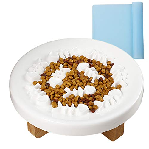 Legendog Anti Schling Napf Katzen Hunde Keramik Futternapf Katze Fressnapf Hund Erhöht Futterstation für Katzennapf Hundenapf Set mit Ständer mit rutschfeste Unterlage