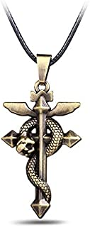 Value-Smart-Toys - 12pcs/lot Anime Fullmetal Alchemist Edward Elric Rope Chain Pendant Necklace Bronze Metal Statement Necklaces Kolye Choker Men