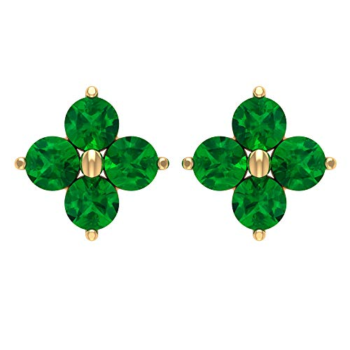 1 CT Emerald Flower Earrings, Cluster Stud Earrings, Gold Earrings (3 MM Round Shaped Emerald), 14K Yellow Gold, Pair