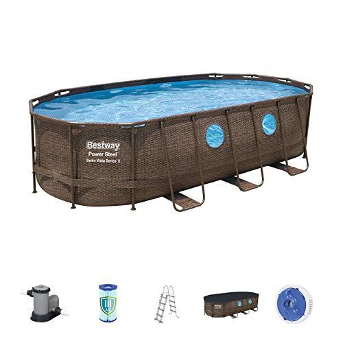 Bestway Power Steel Swim Vista Series Pool Komplett-Set, oval, mit Filterpumpe, Sicherheitsleiter & Abdeckplane, Rattanoptik, 549x274x122 cm