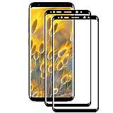[2 Piezas] Vidrio templado para Samsung Galaxy S8, Antiarañazos, Antihuellas, Sin Burbujas, Dureza 9H, 0.33 mm Ultra Transparente, Hoja de vidrio templado para Samsung Galaxy S8, Negro