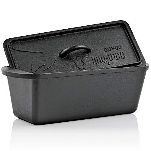 BBQ-Toro Dutch Oven broodbakpan, gietijzeren kookpan, gietijzeren pan, 3,0 liter, voorgefabriceerd - al ingebrand, braadpan met deksel, DOSQ3 bakpan
