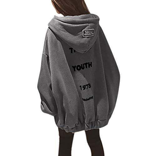 Lazzboy Kapuzenpullover Frauen Lose Large Zipper Letter Print Verdickung Sweater Damen Lange Ärmel Hoodie Pullover Frauen Mantel Jacke Lang Kapuzenpullis Pulli(Grau,4XL)
