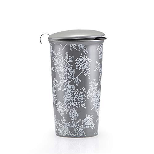 KARALIN Ceramic Coffee Travel Mug Double Insulated Mug With Infuser Basket And Two Lids12oz(Woodpecker) (Gray)