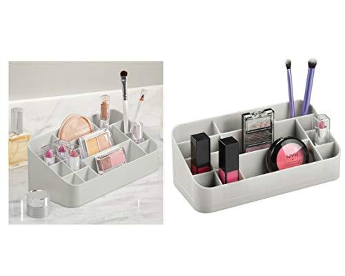 InterDesign Clarity organizador maquillaje con asas | Caja almacenaje con 14 compartimentos para maquillaje y accesorios | Ideal para accesorios de baño | Plástico gris claro