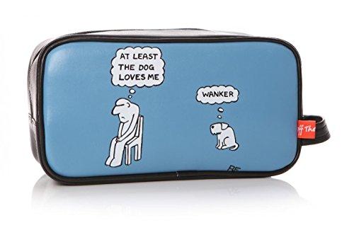 Trousse de toilette humoristique avec inscription « At Least The Dog Loves Me Rupert Fawcett Off the Leash » Bleu