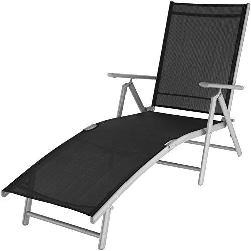 tectake 403259 Aluminium Sonnenliege, klappbar, witterungsbeständig, mit Armlehnen, Verstellbarer Rückenlehne und Tragegriffe, Silbergrau