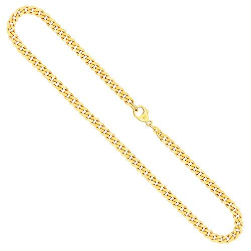 Cadena para hombre de oro real de 4.7 mm, cadena de panzer plano oro amarillo 8 k 333, cadena de oro con sello, con cierre de langosta, long. 60 cm, p. 29.3 g