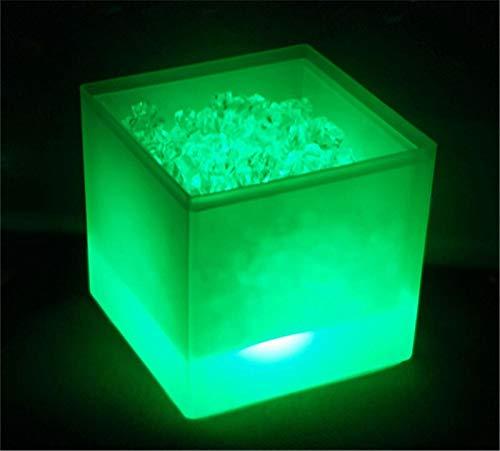 Cubo de hielo LED Cubierta de doble capa Barra cuadrada Cerveza Cubo de vino de hielo RGB Cambio de color Durable 3.5 L Bar Bar Bag Bolsa Cerveza Cooler Holder (Color : 1pcs Green)