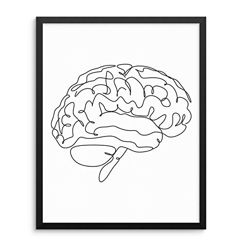One Line Art Print Anatomical Human Brain Poster 11x14 UNFRAMED Minimalist Contemporary Artwork for Bedroom or Living Room Home Decor - Gifts for Doctors