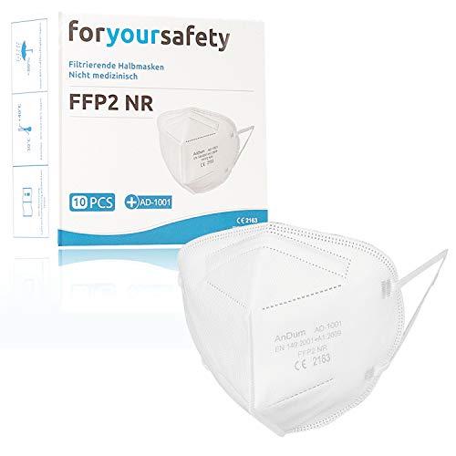 10er Pack FFP2 Masken mit CE Voll- Zertifizierung mit Bestnote im deutschen Airosol Test auf kleinste Partikel bei PALAS, 5 lagig, doppeltes Melting blown Vlies, Reach getestet vom TÜV Rheinland