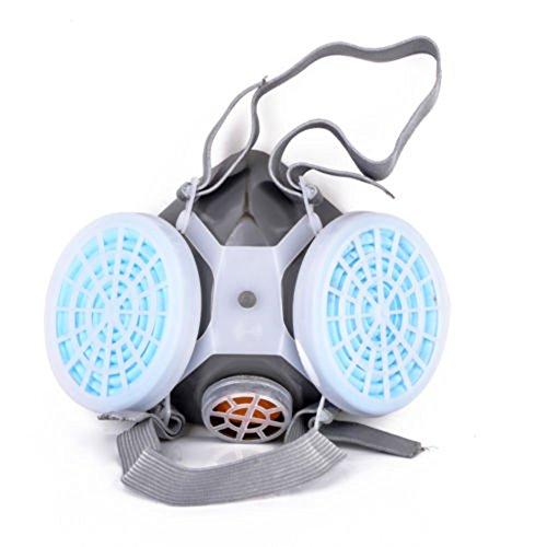 BONNIO - Máscara de respirador de gas antipolvo doble para pintura en spray químico, azul