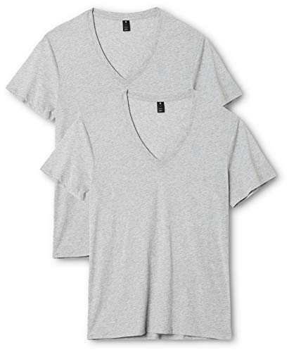 G-STAR RAW Herren Base V T S/S 2-Pack T-Shirt, Grau (Grey Htr 906), Large