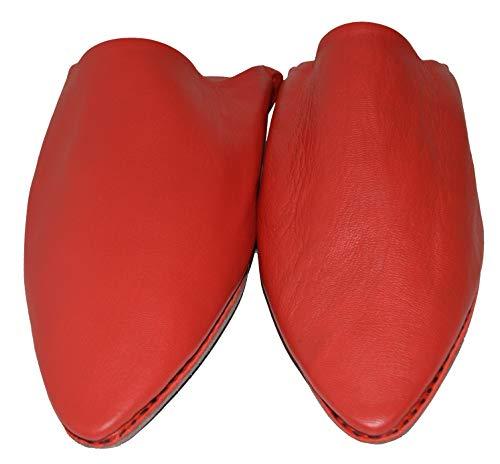 TISLIT Leder Schuhe Babouch Leder Hausschuhe marokkanische Handmade Original Fairtrade (39 EU, Rot)
