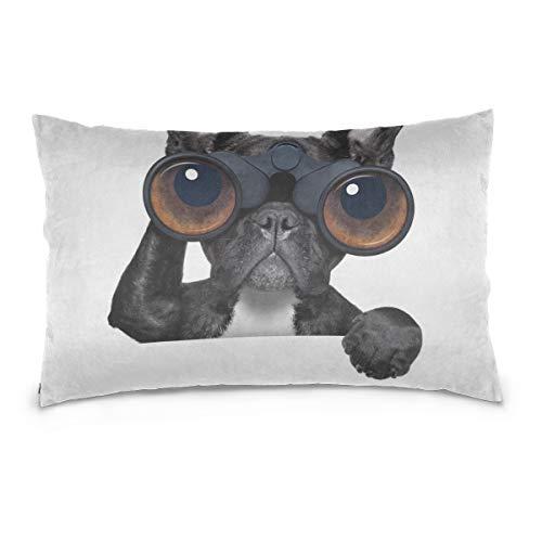 WYYWCY Hund mit Lupe Kissenbezug Gedruckt Standardgröße 50x70 cm (20