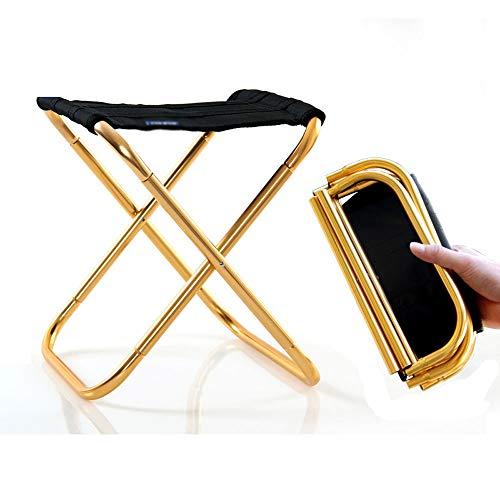 XUMINGZDY Klapphocker Bank tragbare Outdoor-Mazar-Stühle ultraleichte U-Bahn-Reisestühle ohne Artefakte angereiht Angeln Hocker Strandbänke (Farbe : Gold, größe : L)