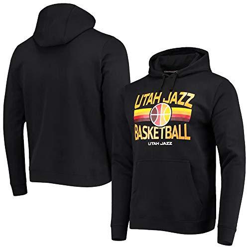 BMSD Sudaderas con Capucha Jersey NBA Jazz Negro Deporte Hombres Baloncesto Uniforme de Manga Larga Ropa con Estampado de Moda, XL