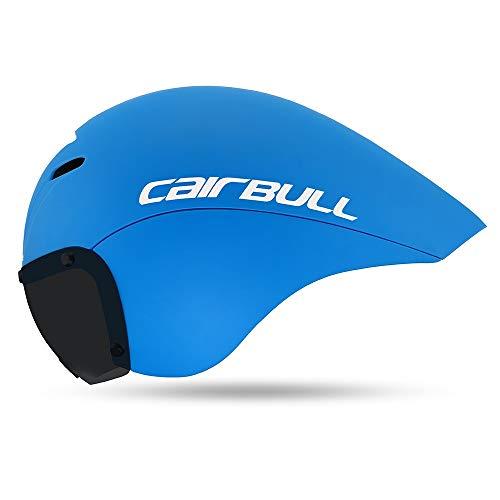 Morsky Leichter Aero Helm Radfahren Triathlon MTB Rennrad Fahrradhelm, blau, L(55-61CM)