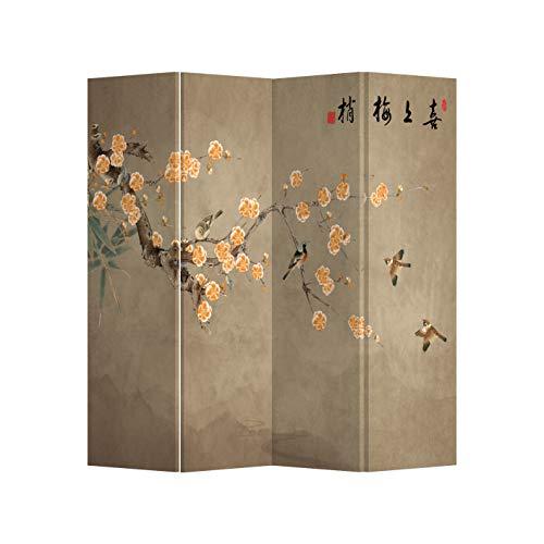 Fine Asianliving Paravent Raumteiler Trennwand Spanische Wand Raumtrenner Sichtschutz Japanisch Orientalisch Chinesisch L160xH180cm Bedruckte Canvas Leinwand Doppelseitig Asiatisch -203-197
