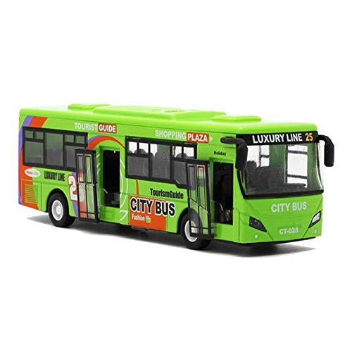 Nrpfell 1:32 Modelos de AutomóViles de AleacióN, AutobúS Urbano de Alta SimulacióN, FundicióN a PresióN, VehíCulos de Juguete, Retroceso y Parpadeo y Musical,, Verde