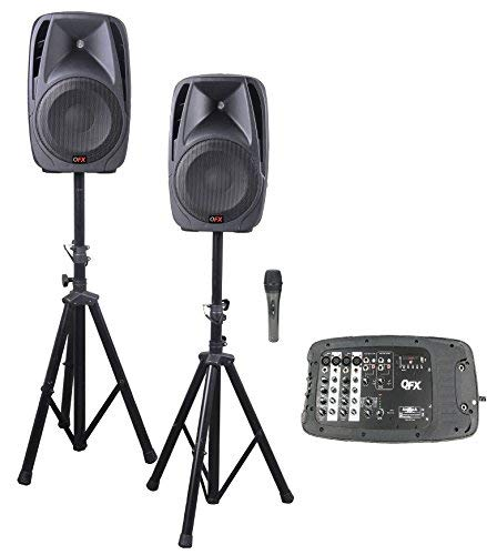 QFX SM211 ALL IN ONE 8 channel DJ Mixer Board and Portable PA systemDual 10 Inch Speakers Includes…