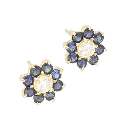 Jollys Jewellers - Pendientes de oro amarillo de 18 quilates, diseño de margaritas y diamantes (11 mm de diámetro)