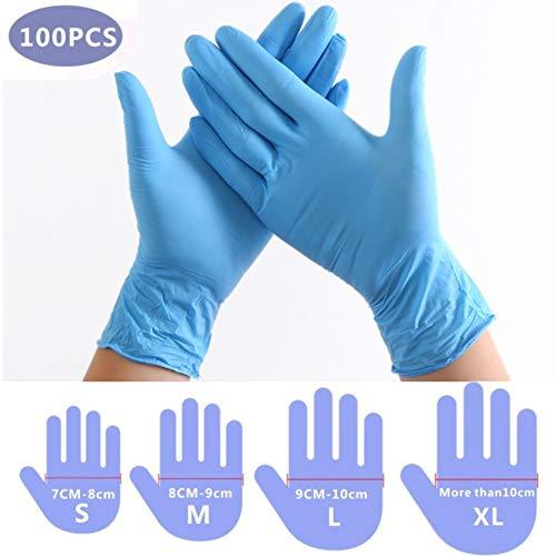 Guantes desechables azul 100 piezas de PVC de nitrilo Sin látex,Sin polvo,Home Limpieza ,Lavado de platos Guantes de trabajo desechables(Caja Grande de Contiene 100 ) (L)